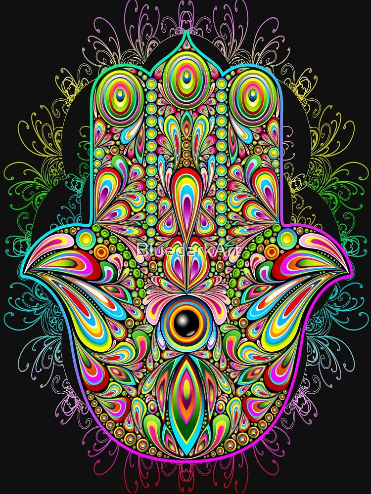 Hamsa Fatma Hand Psychedelic Amulet  by BluedarkArt