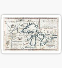 Antique Map - Coronelli's Great Lakes (1696) Sticker