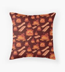 Calcifer + Bacon Throw Pillow