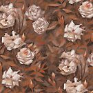 White roses, floral pattern, earth shades by clipsocallipso