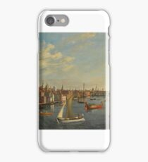 Follower of Samuel Scott LONDON, A VIEW OF ST PAUL'S CATHEDRAL AND OLD LONDON BRIDGE FROM THE THAMES, WITH THE ROYAL BARGE iPhone Case/Skin
