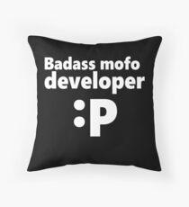 Badass mofo developer Throw Pillow