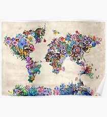 Floral world map posters redbubble world map poster gumiabroncs Image collections