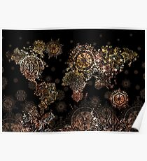 world map mandala gold Poster