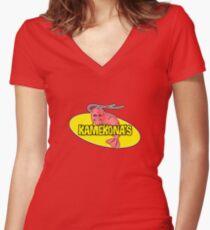 Kamekona's Shrimp Logo (Outline) Women's Fitted V-Neck T-Shirt