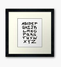 Hand Written Brush Letter Alphabet Framed Print