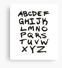 Hand Written Brush Letter Alphabet Canvas Print