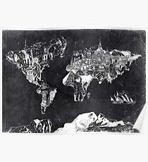 Weltkarte schwarz und weiß Poster
