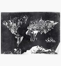 world map black and white Poster
