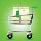 Shop basket isolated on green wave blurred background by valeo5