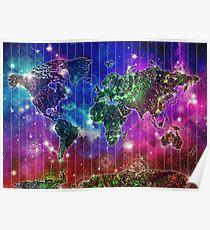 world map mandala space Poster
