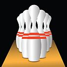Set of Bowling Pins on Brown Track Black Background by valeo5