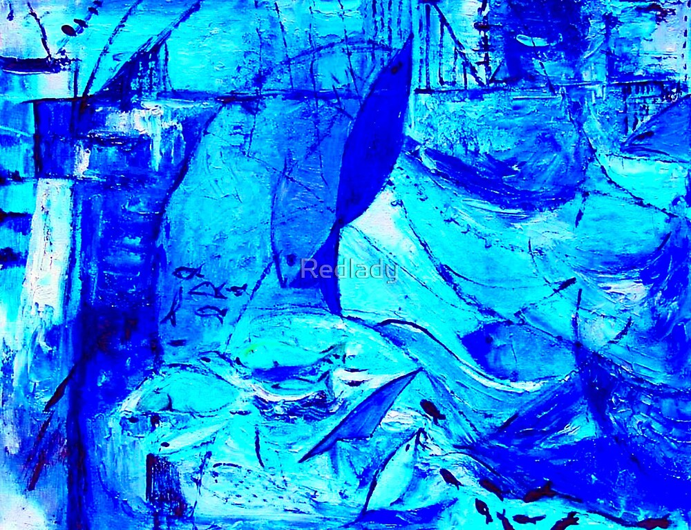 BLUE SEA ABSTRACT by Redlady
