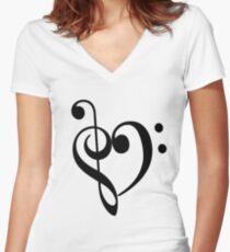 Music Love Women's Fitted V-Neck T-Shirt