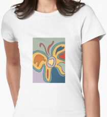 Blue and Yellow Abstract Butterfly Womens Fitted T-Shirt