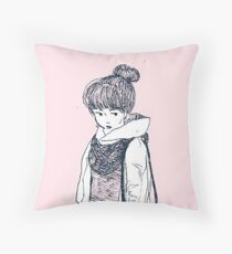 Girl (in pencil)  Throw Pillow