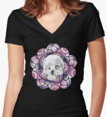 Watercolor Skull With Purple Mandala Women's Fitted V-Neck T-Shirt