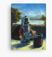 Lego knight with barrel painting Canvas Print