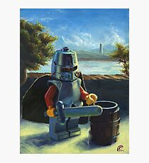 Lego knight with barrel painting Photographic Print