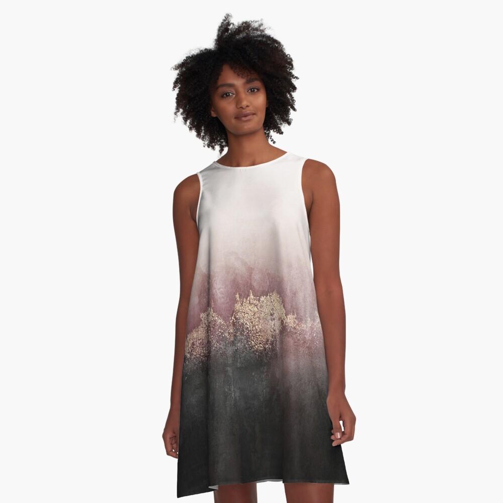 Rosa Himmel A-Linien Kleid