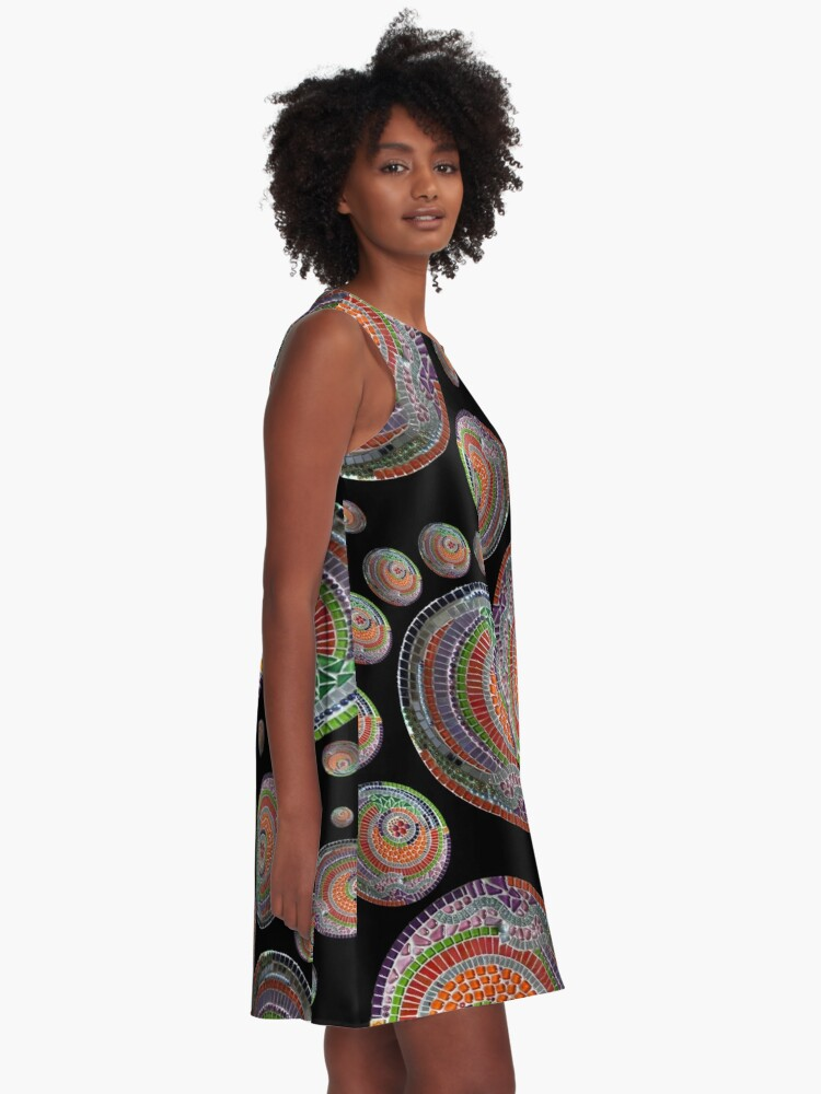 Alternate view of Abstract pattern of a mosaic bowl A-Line Dress