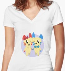 Plusle and Minun Women's Fitted V-Neck T-Shirt
