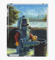 Lego knight with barrel painting iPad Case/Skin