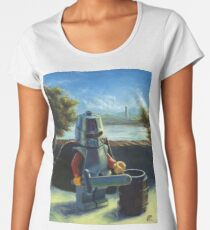 Lego knight with barrel painting Women's Premium T-Shirt