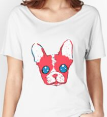 French bulldog anime eyes sketch with marker Women's Relaxed Fit T-Shirt