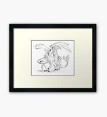 Toothless Pen Drawing Framed Print