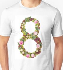 The number Eight Part of a set of letters, Numbers and symbols of the Alphabet made with flowers Unisex T-Shirt