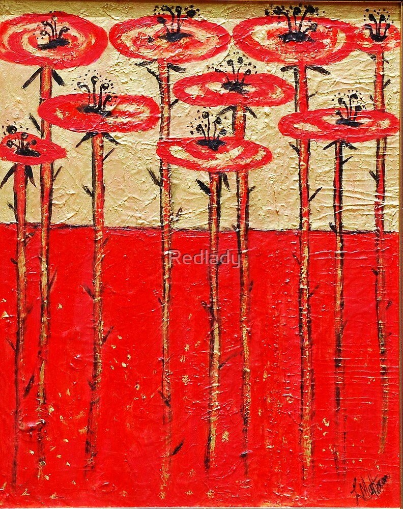 RED POPPIES ON GOLD by Redlady