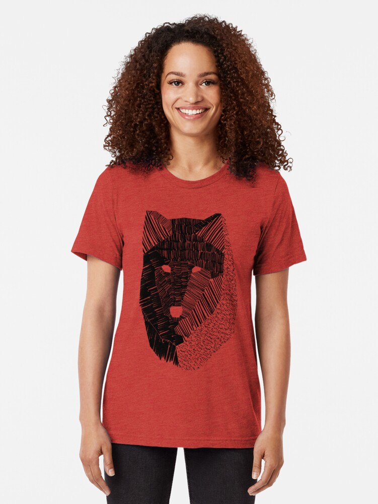 Alternate view of Wolf Mask Tri-blend T-Shirt
