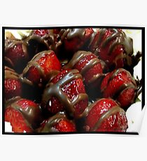 Chocolate coated strawberrys. Poster