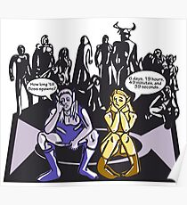 Dark Elf and Wood Elf waiting for Boss to Spawn; Everquest/WoW MMORPG funny Comic Hand-Drawn Illustration  Poster