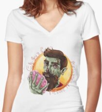 """Zombie Hipster - """"Gluten-Free Before it Was Cool"""": original hand-drawn illustration Women's Fitted V-Neck T-Shirt"""