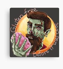 "Zombie Hipster - ""Gluten-Free Before it Was Cool"": original hand-drawn illustration Canvas Print"