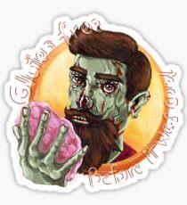 "Zombie Hipster - ""Gluten-Free Before it Was Cool"": original hand-drawn illustration Sticker"
