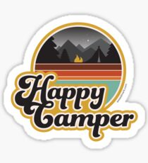 Happy Camper (Retro, 70s, Camping) Sticker