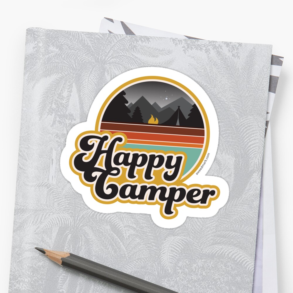 Quot Happy Camper Retro 70s Camping Quot Stickers By