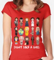 Kokeshis Fight like a girl Women's Fitted Scoop T-Shirt
