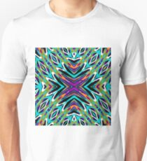 psychedelic geometric graffiti abstract pattern in green blue purple orange Unisex T-Shirt
