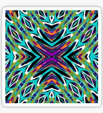 psychedelic geometric graffiti abstract pattern in green blue purple orange Sticker