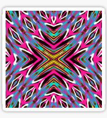 psychedelic geometric graffiti abstract pattern in pink blue yellow brown Sticker