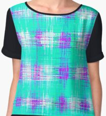 plaid pattern graffiti painting abstract in blue green and pink Chiffon Top