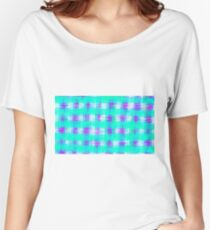 plaid pattern graffiti painting abstract in blue green and pink Women's Relaxed Fit T-Shirt