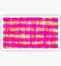 plaid pattern graffiti painting abstract in pink and yellow Sticker