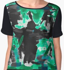 psychedelic vintage camouflage painting texture abstract in green and black Chiffon Top