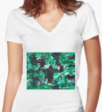 psychedelic vintage camouflage painting texture abstract in green and black Women's Fitted V-Neck T-Shirt