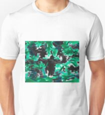 psychedelic vintage camouflage painting texture abstract in green and black Unisex T-Shirt